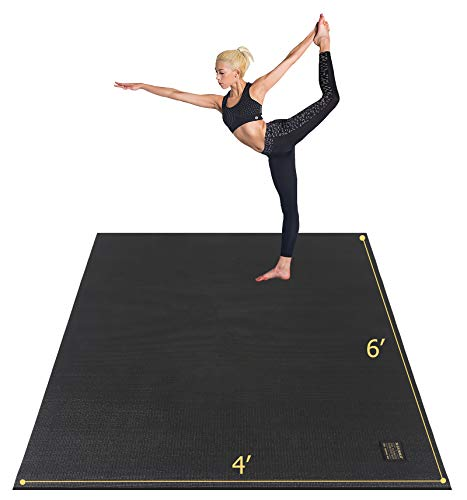 Gxmmat Large Yoga Mat 72″x 48″(6'x4′) x 7mm for Pilates Stretching Home Gym Workout, Extra Thick Non Slip Anti-Tear Exercise Mat, Use Without Shoes