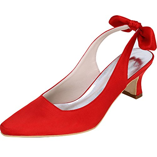 Bowknot Basse Rosso Sposa A Shoes Scarpe Womens Da Dress Punta Slingback Yaoyue Court a1qnOwxR5Z