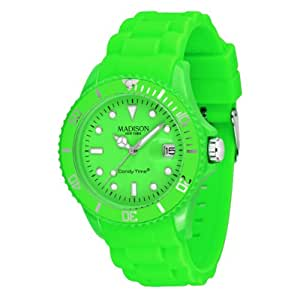 Madison New York Ladies Green Dial Green Rubber Band Watch [U4503-49]