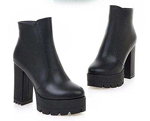 Aisun Femmes Bout Rond Côté Fermeture À Glissière Hauts Sommets Plateforme Bloc Talons Hauts Chaussons Chaussures Noir