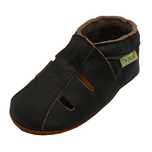 Sayoyo Baby Soft Sole Leather Infant Toddler Prewalker Darkbrown Shoes Sandal(12-18 months) (Walker Sandals Pre)