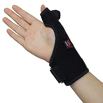 Spotbrace Adjustable Wrist Thumb Splint Brace Support with Steel Plate, Pain Relief Sports Thumb Compression Wraps for Arthritis, Tenosynovitis, Carpal Trigger Finger, Sprain Stabilizer Guard – Right