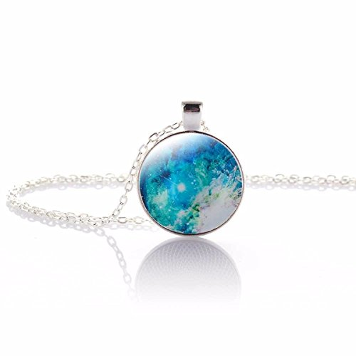 Price comparison product image Nebula Pendant Necklace - Galaxy and Space Exploration Glass Cabochon Pendant With Silver Choker Chain Necklace Gift For Women and Girls (Nebula-2) (color/design may vary slightly from photo)