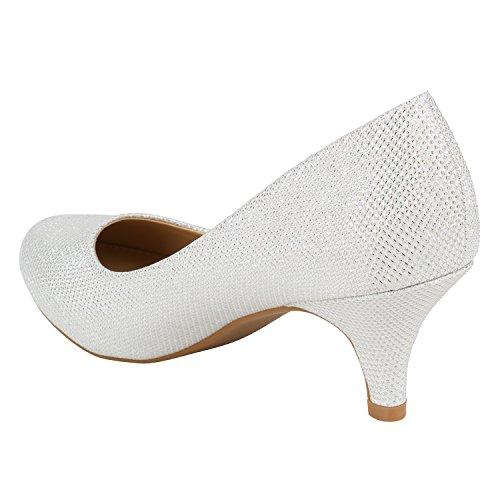 Stiefelparadies Damen Stiletto Pumps High Heels Glitzer Party Flandell Weiss Creme Glitzer
