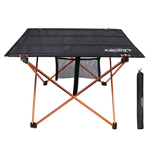 G4Free Ultralight Portable Folding Table Compact Roll Up Tables with Carrying Bag for Outdoor Camping Hiking Picnic (Black/Orange Medium) Compact Folding Poker Table