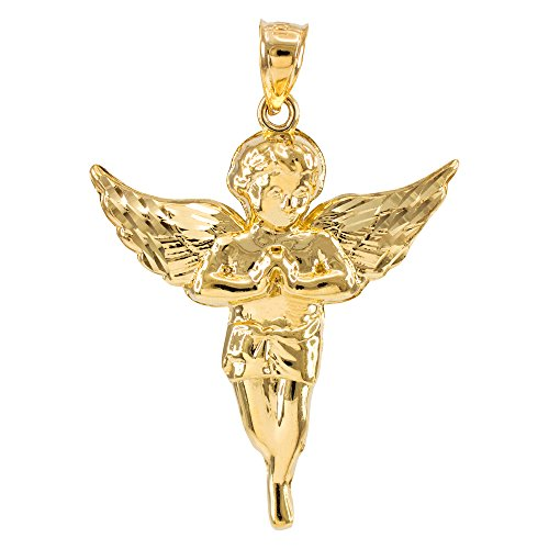 Religious Jewelry by FDJ High Polish 14k Yellow Gold Angel Pendant
