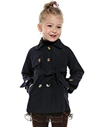 Arshiner Girls Double-Breasted Trench Jacket Coat Dress Windbreaker Outwear With Belt