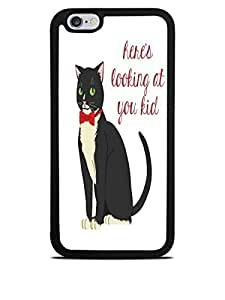 Bow Tie Cat Heres Looking at You Black Silicone Case Cover For Apple Iphone 5C )