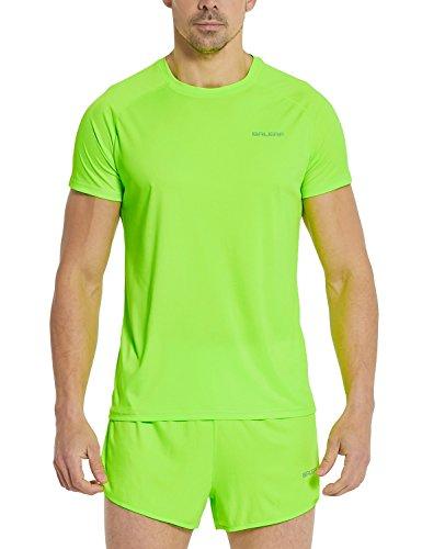 Baleaf Men's Quick Dry Short Sleeve T-Shirt Running Fitness Shirts Neon Green Size L ()