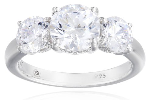 Platinum-Plated Sterling Silver Round 3-Stone Ring made with Swarovski Zirconia (3 cttw), Size 6