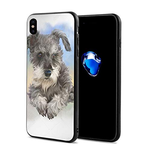 Art Thinking Gray Schnauzer iPhone X 10 Phone Case Theme Cover Decorative Ornament Mobile Accessories Ultra Thin Lightweight Shell Pattern Printed Ornament Decorations