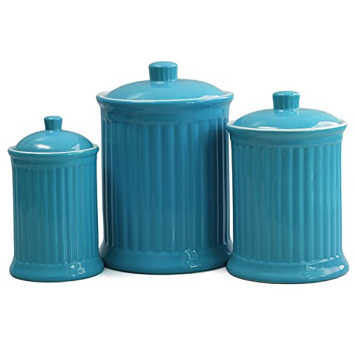 Omniware Simsbury 3 Piece Turquoise Ceramic Canister Set by Omniware