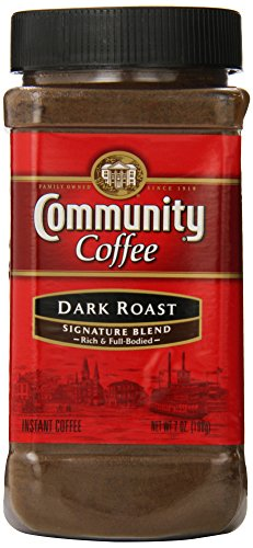 Community Coffee Signature Blend Dark Roast Premium Instant 7 Oz Jar (4 Pack), Full Body Rich Bold Taste, 100% Select Arabica Coffee Beans