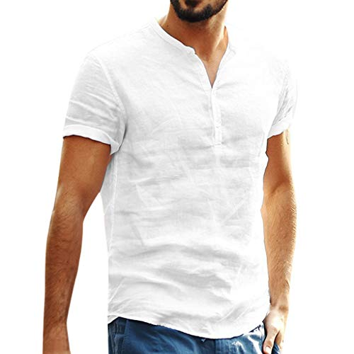 Men's Cotton Linen T Shirts Short Sleeve Slim Fit Retro V Neck Button Up Tee Tops Blouse (S, White)
