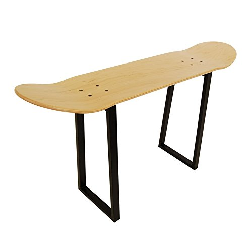 Stool with Metal Legs and skateboard. Best gift Ideas for Skateboarders. Natural Wood color by SKATE HOME