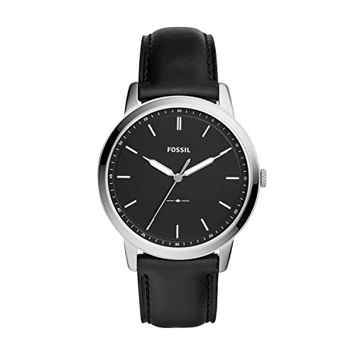 Fossil Men's The The Minimalist Stainless Steel Quartz Watch with Leather Calfskin Strap, Black, 22 (Model: FS5398) (Fossil Watches Black Leather)