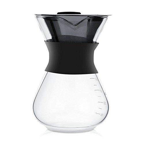 Cafetera de cristal con filtro permanente de acero inoxidable, 400 ml con escala