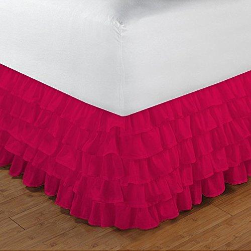 SAO'S SILVALINEN Egyptian cotton Drop Length Multi Ruffle Bedskirt 15'' deep pocket 600TC Solid ( Full XL , Hot Pink ) by Sao's Silvalinen