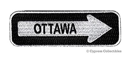 Amazon com: OTTAWA ONE-WAY SIGN EMBROIDERED IRON-ON PATCH