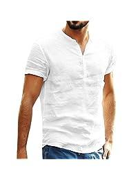 Mens Fashion T Shirt Cotton Tee Hippie Shirts Short Sleeve Beach Yoga Top Henley Shirt Summer Button Up Tops