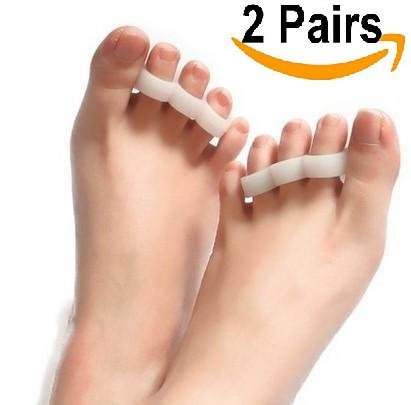 Duorui 2 Pairs Gel Hammer Toe Pads, Hammer Toe Cushion, Overlapping Toes, Toe Straightener, Pain Relief for Curled Toe ... (White)