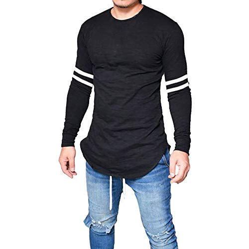 CMrtew ❤️ Fashion Autumn Men's Slim T-Shirt,Long Sleeve Striped Print Shirt Blouse (XL, -