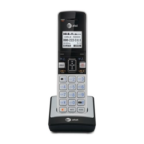 AT&T TL86003 Accessory Cordless Handset, Silver/Black | Requires AT&T TL86103 to Operate