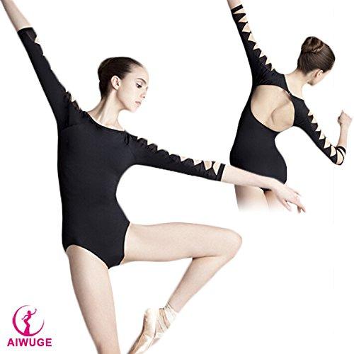 Embiofuels(TM Lycra Cotton Backless Unitard Adult Girl Black 3/4 Long Sleeve Dance Practice Leotard Gymnastic Ballet Leotards For Women by Embiofuels