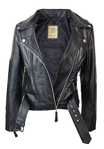 cuero mujer ajustada para vintage Chaqueta de cremallera con estilo y cinturón motorista Negro BqxURw5t