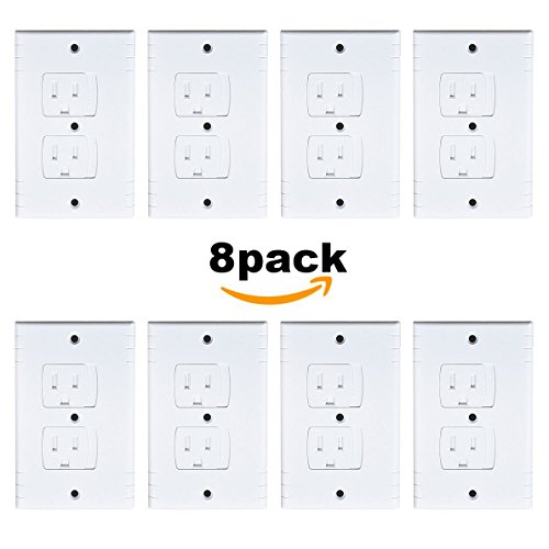 Universal Self-Closing Electrical Outlet Covers ,Extra Safe Retardant Child Safety Guards Socket Plugs Protector, BPA Free, Hardware Included (8 Pack)