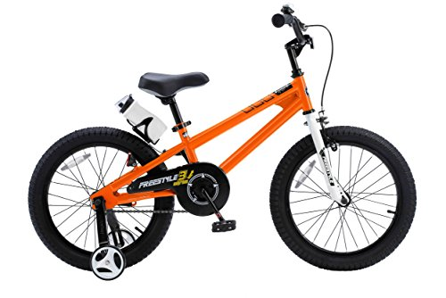 Orange Bike Shop (RoyalBaby BMX Freestyle Kids Bike, Boy's Bikes and Girl's Bikes with training wheels, Gifts for children, 18 inch wheels,)