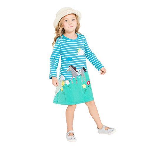 Girls Cotton Long Sleeve Dresses Dress Cute Printed Cartoon Dresses(Horse & Blue,2-3Yrs)