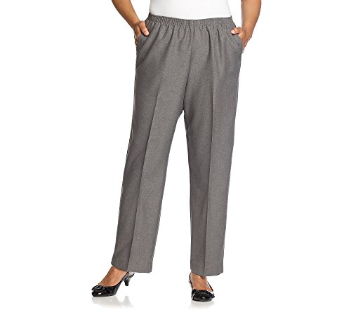 Cheap Alfred Dunner Plus Size Classic Elastic-Waist Pants Grey 16W for sale