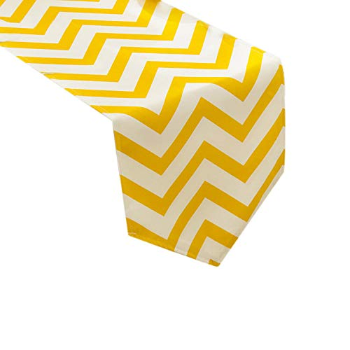 Uphome 1pc Classical Chevron Zig Zag Pattern Table Runner - Cotton Canvas Fabric Table Top Decoration, Yellow and White