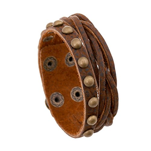 Brass Estate Collection Single (Multi Strand Braided Rivet Brown Punk Style Wrap Bracelet And Button adjustble Length unisex)