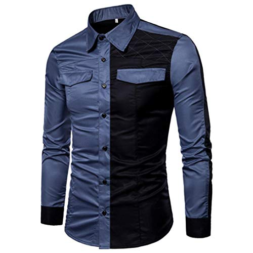 - Men Long Sleeve Shirt Casual Slim Fit Button Patchwork Luxury Party Blouse Top(Blue,Bust:36