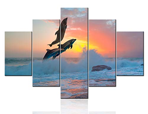 Rustic Wall Picture Three Dolphins Jumping Wall Art for Living Room 5 Piece Prints on Canvas Sundown Painting Pacific Ocean Artwork Home Modern Decor Giclee Framed Stretched Ready to Hang(60''Wx40''H)