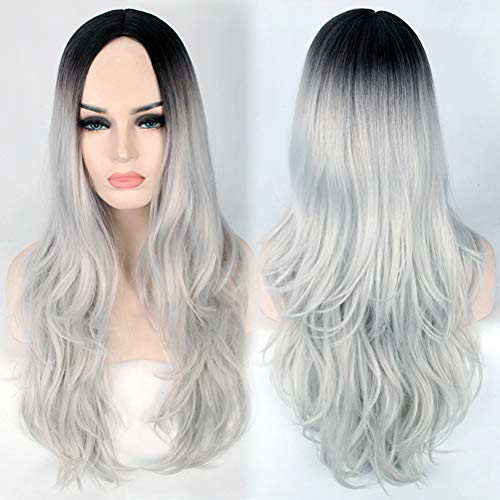 - YEMOCILE Women's Ombre 2 Tone Dark Roots Synthetic Long Wavy Cosplay Hair Wig