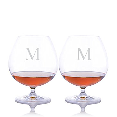 Vinum Cognac - Personalized Riedel Crystal Vinum Bar Brandy Cognac Glass / Snifter - Set of 2 - Engraved & Monogrammed - Perfect for Home Bar -Groomsmen Gift - Father's Day Gift