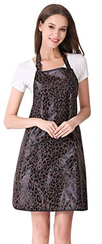 (Hair Stylist Apron for Salon Hairdresser, Barber Haircut Styling Apron With Pockets-Leopard Print)