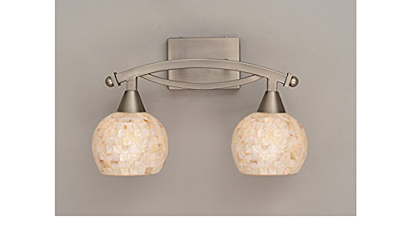 Toltec Lighting 172 Bn 405 Bow Two Light Bath Bar Brushed Nickel Finish With Mystic Seashell Glass Vanity Lighting Fixtures Amazon Com