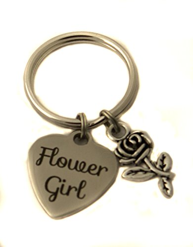 Heart Projects Stainless Steel Flower Girl Rose Charm Keychain, Bag Charm Bridal Party Gift by Heart Projects
