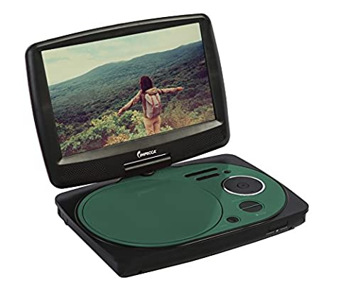 Impecca DVP916T 9 Inch Swivel Screen, Portable DVD Player with Rechargeable Battery, SD Card Slot and USB Port, Teal
