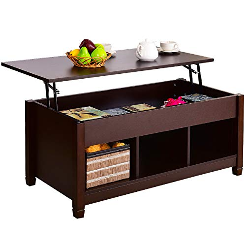TANGKULA Coffee Table Lift Top Wood Home Living Room Modern Lift Top Storage Coffee Table w/Hidden Compartment Lift Tabletop Furniture (Brown with Lower Shelf)