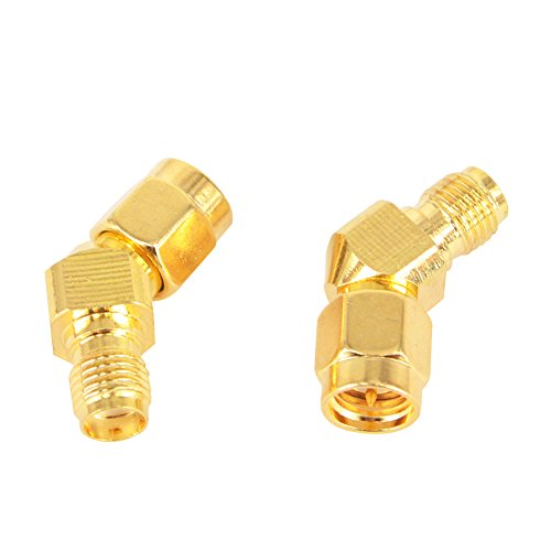 SMA Male to Female 45 Degree Antenna Adapter Gold Plated Connector for FPV Race RX5808 Fatshark Goggles Pack of 2