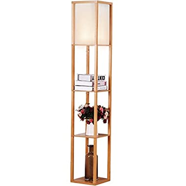 Brightech Maxwell Open-Box Shelf Floor Lamp with Shade Diffused Light in Natural Wood Frame