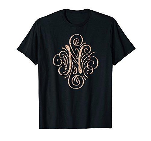 (Rose Gold Monogram Shirt - Letter N Gift)