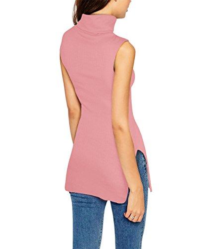 Womens Super Comfy Sleeveless Turtleneck Tunic Sweater KT45224 51347 Blush ()