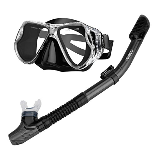 ENKEEO Scuba Diving Snorkeling Snorkel Set Anti Fog Goggles/Swimming Cap/Waterproof Phone Case/Gear Bag, Black