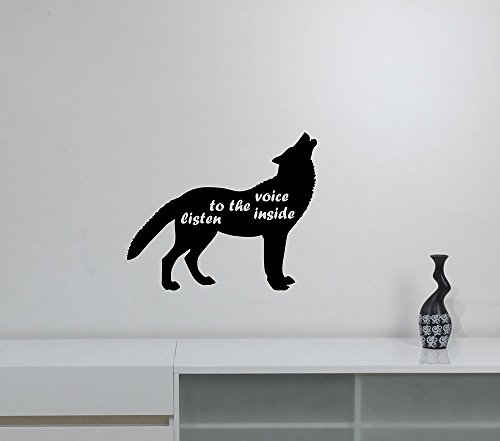 Inspirational Quote Wall Art Decal Wolf Silhouette Vinyl Sticker Wildlife Decorations for Home Living Room Bedroom Animal Decor wlff2